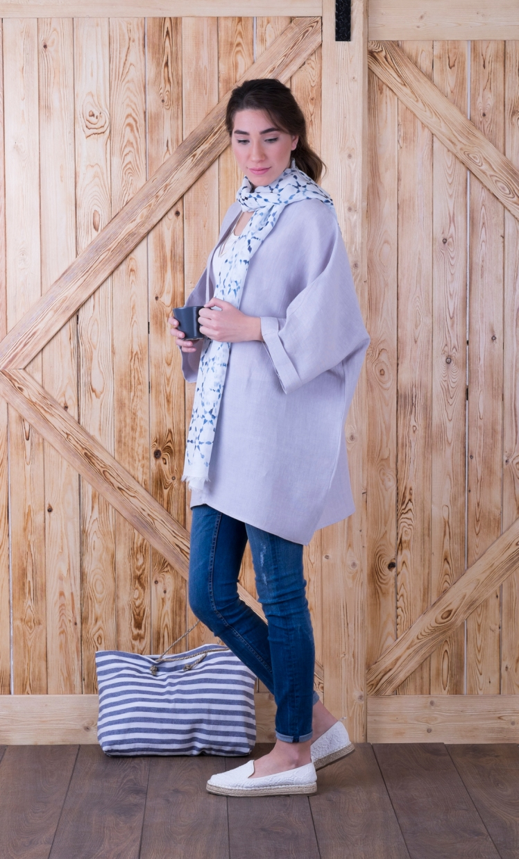Linen kimono acik gri light grey 2